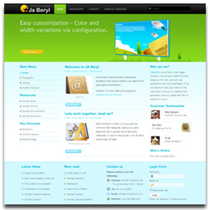 JA Beryl Joomla Web 2 0 Customizable Template