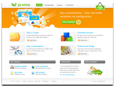 ja erica joomla template joomla web 2 0 template advertisement