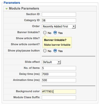 JV Contents Slideshow Module Parameter Options