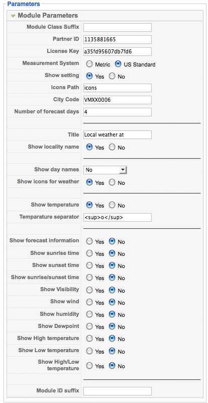 JV Joomla Weather Module Parameter Options