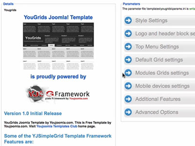 YJ Simple Grid Joomla Template Framework from YouJoomla.com