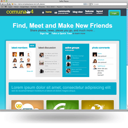 Comuna4 joomla social networking template for Social networking sites templates php