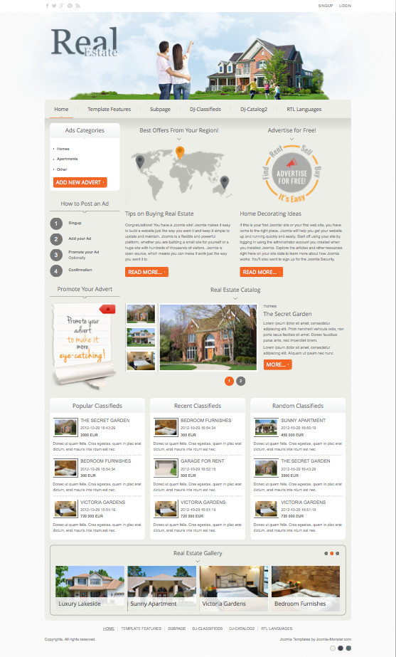 joomla backend templates - dj real estate02 responsive joomla classifieds portal template