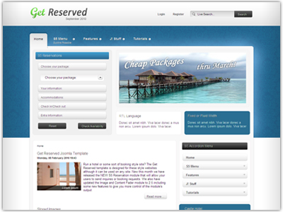 Get Reserved Joomla Template For Resort Hotel Booking Websites - Booking website template