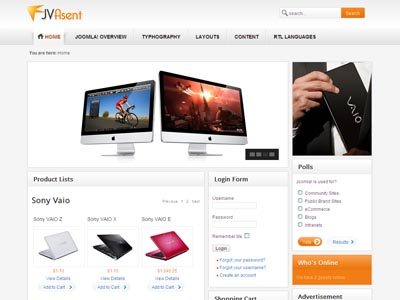 JV Asent Joomla Template for Shopping Cart & Digital Products Showcase