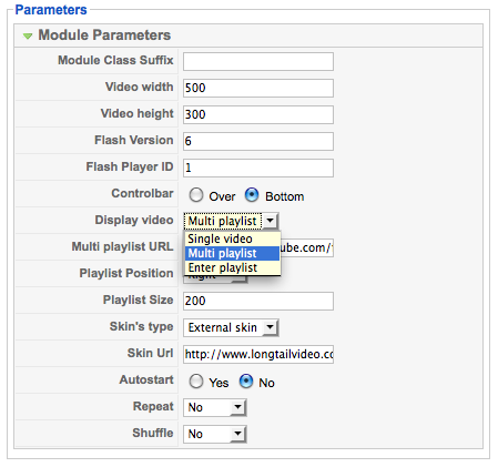 JV Video Module Parameter Options