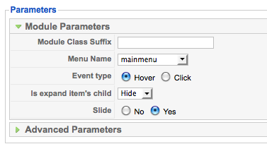 Joomla Accordion Menu module Parameter Options
