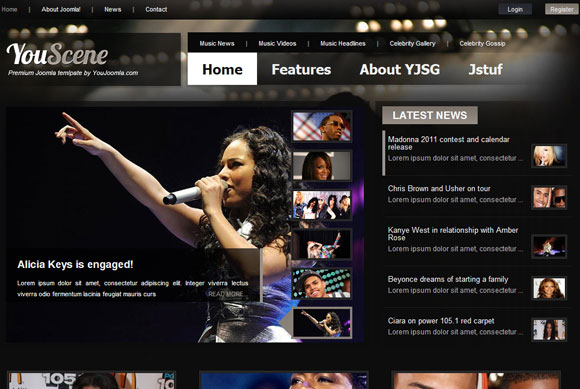 YouScene Music Joomla Magazine Template