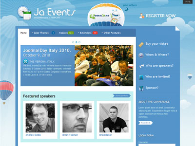 Ja Events Joomla Template | Joomla Event Schedule Template For