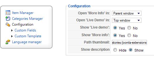 JA Showcase Joomla Module Configurations
