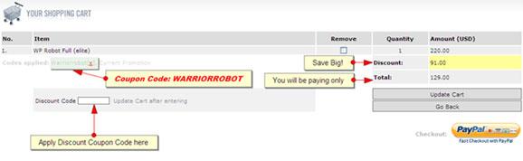 WP Robot Discount Coupon Code