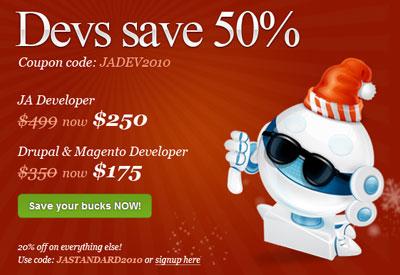 50% JoomlArt Discount Coupon Code