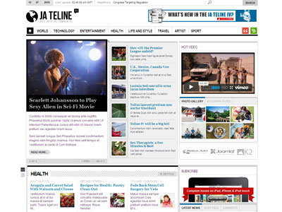 JA Teline IV Joomla Magazine Template with Joomla FlexiContent