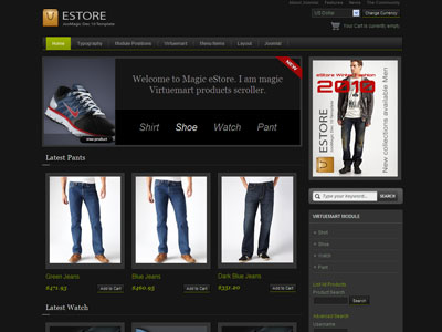Magic eStore Joomla Dark Template