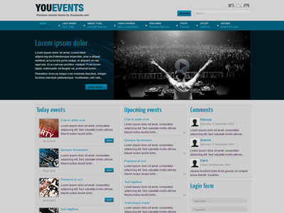 Youevents joomla template for clubbing with hd flash video player youevents joomla music clubbing template maxwellsz