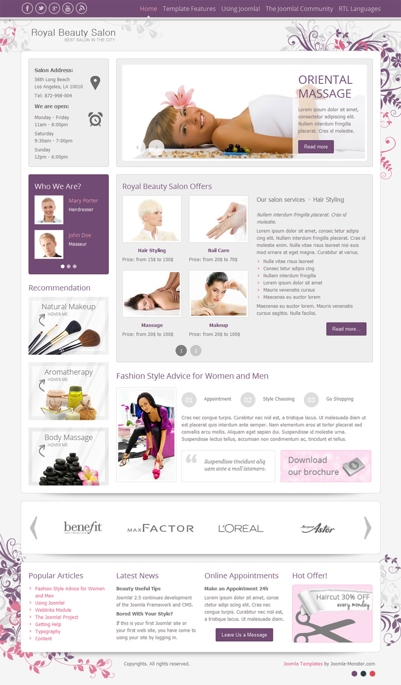 how to make menu for beauty salon free