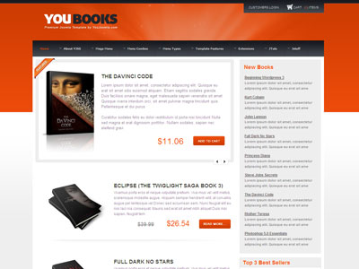 youbooks joomla template | joomla bookstore template with, Powerpoint templates