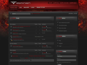 Dominion phpBB3 Style Theme | Dark Red Forum Template | RocketTheme PhpBB Style Template
