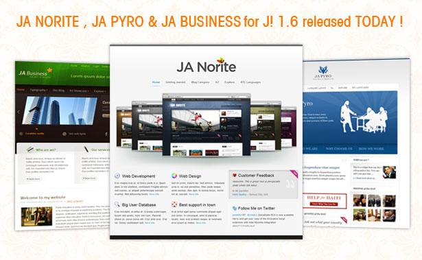 JA Norite, JA Pyro & JA Business Joomla Template
