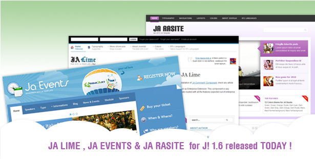 JA Rasite, JA Lime & JA Events for Joomla 1.6 Template