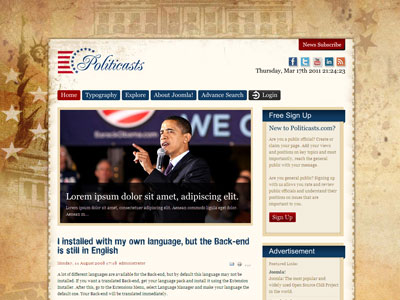 Politicasts Joomla Template