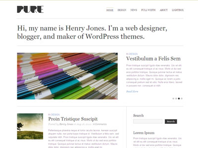 Pure WordPress Personal Bloggers Theme