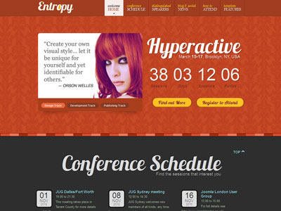 Entropy Joomla Conference Schedule Template