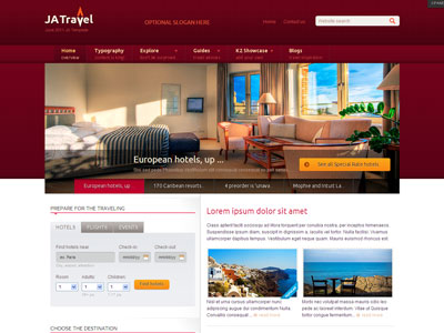 Ja travel joomla template for traveling portal trips for Joomla hotel template