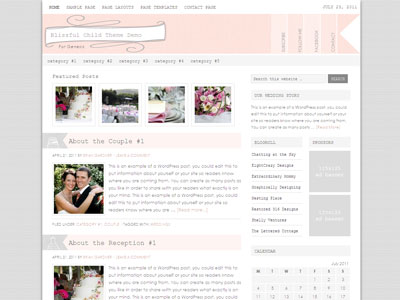 Blissful Child WordPress Wedding Planning Theme