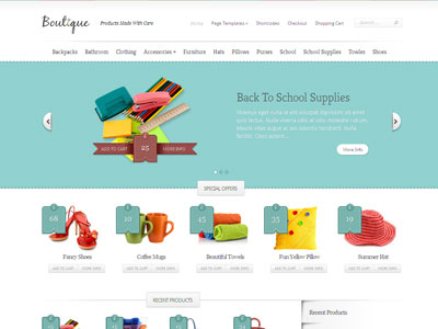 Boutique Wordpress Theme for eCommerce plugins of Cart66, PayPal ...