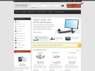 it theshop joomla template best e commerce solution for joomla ecommerce shop template. Black Bedroom Furniture Sets. Home Design Ideas