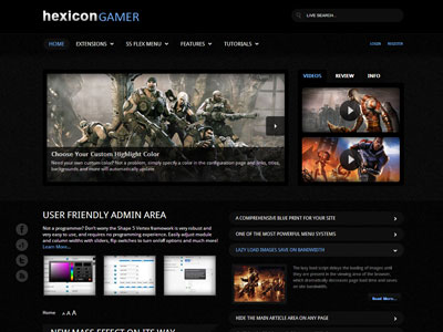 Hexicon Gamer Joomla Gaming Template