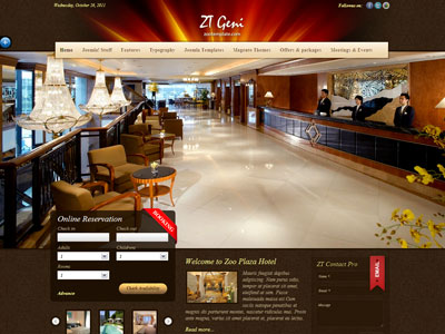 Zt geni joomla hotel reservation template for Joomla hotel template