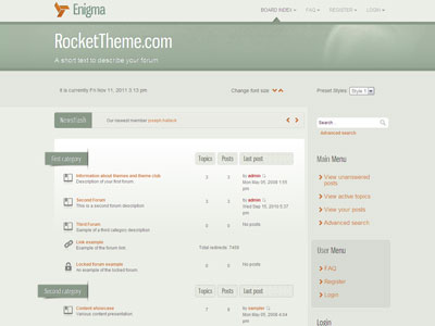 Enigma phpBB3 Forum Software Theme