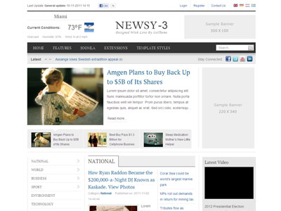 it newsy 3 joomla template | joomla magazine template for daily news, Powerpoint templates