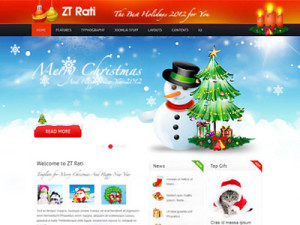 ZT Rati Joomla Merry Christmas Template with Gift Section & Printable Cards