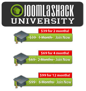 Get Free Joomla Training up to 6 Months Free from JoomlaShack