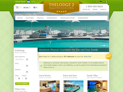 It thelodge 2 joomla online booking template for hotel for Joomla hotel template