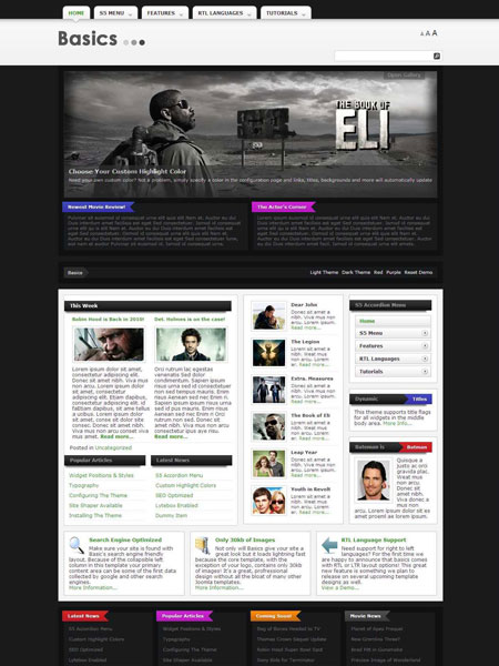 Basics WordPress Fast Loading Theme for Movie Reviews, Cinema Trailers