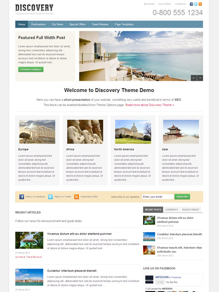 Discovery WordPress Travel Guide Theme
