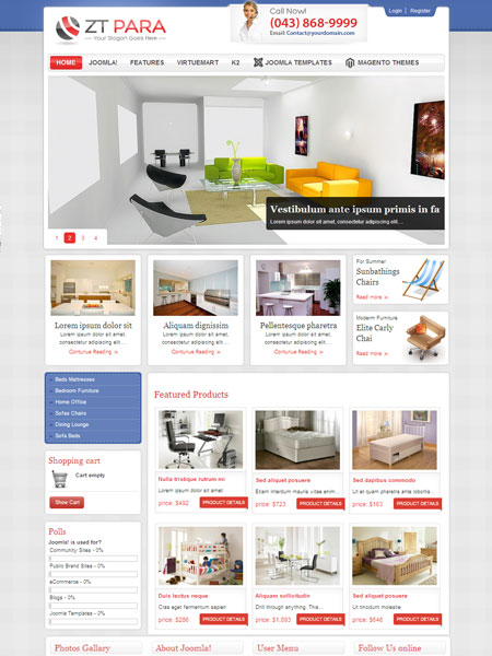 ZT Para Joomla Shopping Cart Template for Furniture Store, Home ...