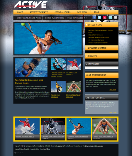 JS Active Joomla Sport Club Template