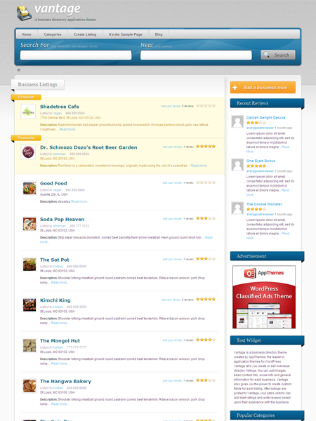 Vantage WordPress Business Directory Theme