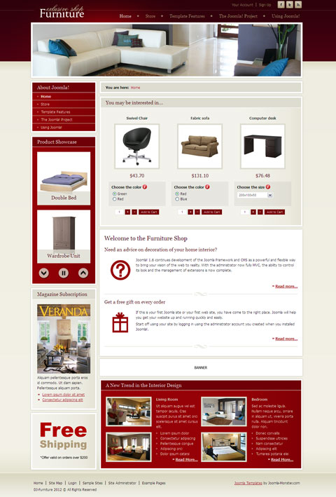 DJ Furniture Store Joomla VirtueMart Template
