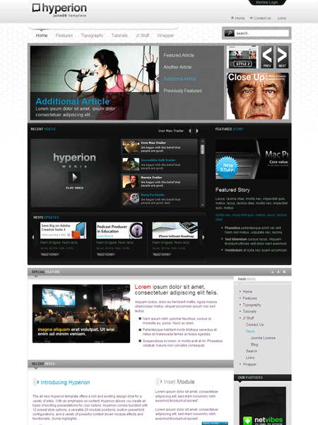 hyperion joomla 2 5 template for music blog online magazine news