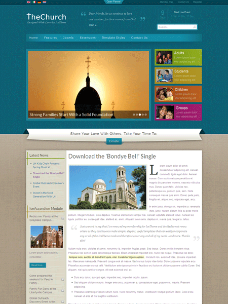 joomla backend templates - it thechurch joomla template for non profit organizations