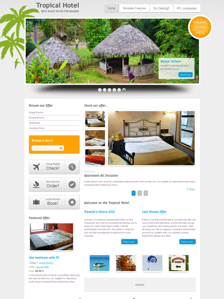 JM Tropical Hotel Joomla Tourist Template