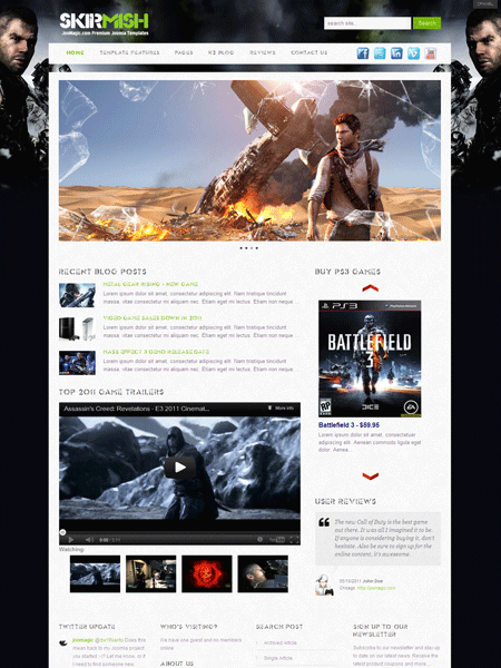 Skirmish Joomla Gaming Template