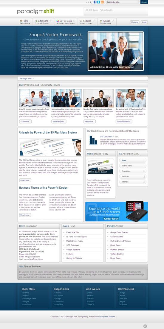 Paradigm Shift WordPress Business Theme
