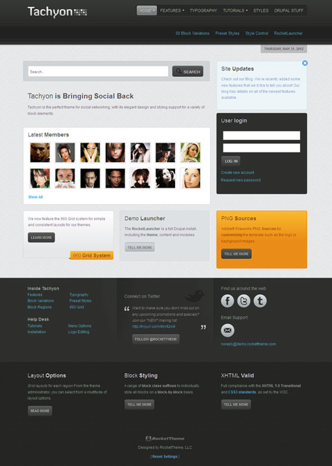tachyon best drupal theme for social networking or community